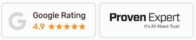 Dieses Bild zeigt: ein Bewertungssiegel von Provenexpert und Google mit 5 Sterne Bewertung