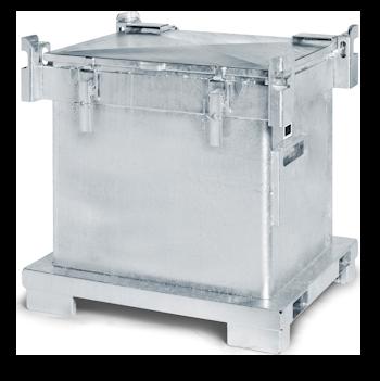 Der abgebildete ASP 800-Behälter ist feuerverzinkt und eignet sich für die fachgerechte Entsorgung von Farben, Lacken und Farbresten. Als spezialisiertes Entsorgungsunternehmen stellt entsorgo seinen Kunden diesen Spezialbehälter zur Verfügung, um umweltgerecht alte Farbe entsorgen zu können.
